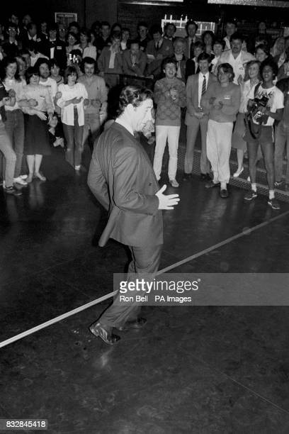 To the delight of youngsters the Prince of Wales became a disco king today trying his hand at breakdancing in a discotheque session at MiddletononSea...