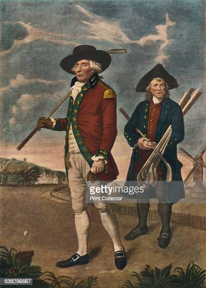 To the Society of Goffers at Blackheath c19th century Image of two men playing golf in 1790 After a painting by Lemuel Francis Abbott From The...