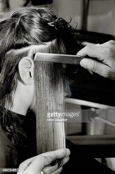 To trim the sides remove hair from the ponytail and comb straight down Part from the point of the old triangle straight back to the nape of the neck