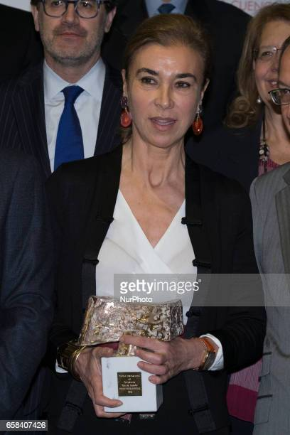 to UruguayanSpanish writer Carmen Posadas during the 34th edition of the King of Spain International Journalism Awards handover ceremony at the...