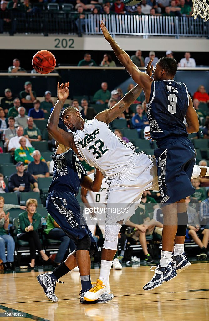Toarlyn Fitzpatrick #32 of the South Florida Bulls is fouled during action against the Georgetown Hoyas during the game at the Sun Dome on January 19, 2013 in Tampa, Florida.