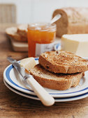 Toast, Butter and Fruit Jam