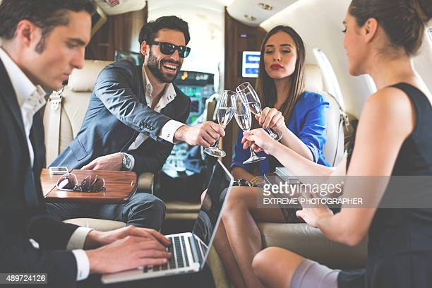Toast in private jet airplane