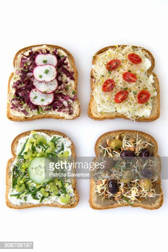 toast sprouts and vegetable on white background