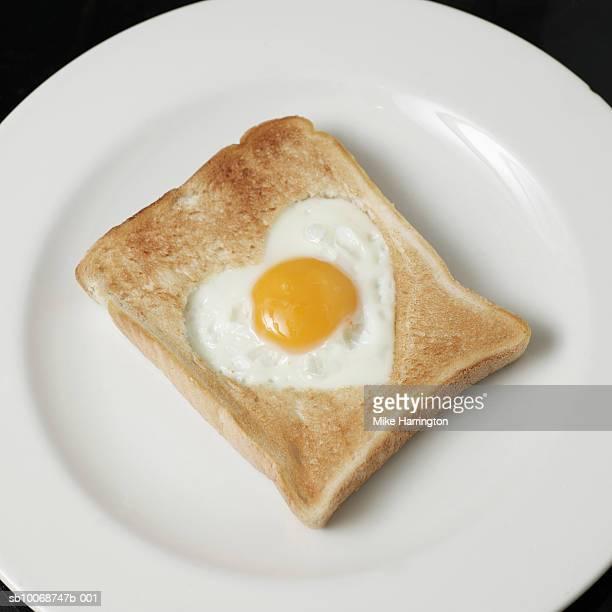 Toast with a egg, shaped like a love heart