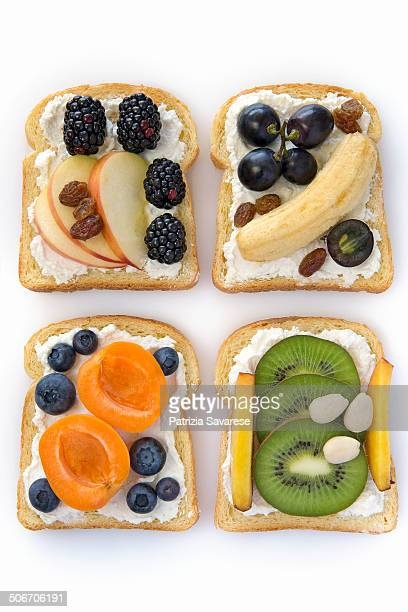 toast with mixed fruits on a white background