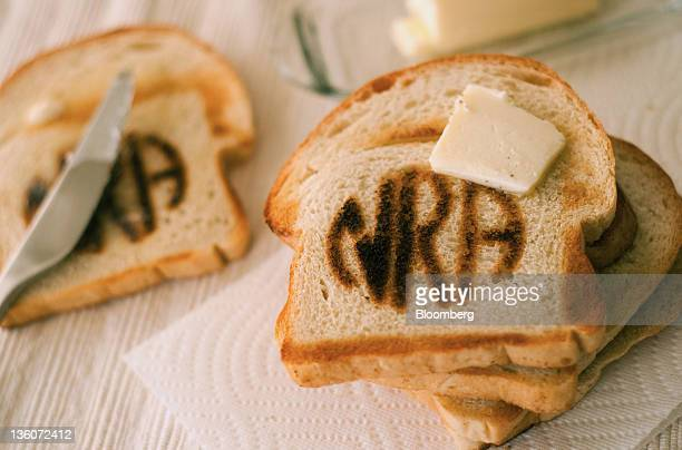 Toast with the National Rifle Association logo burned into it is arranged for a photograph in Gardnerville Nevada on Wednesday Dec 21 2011 A toaster...