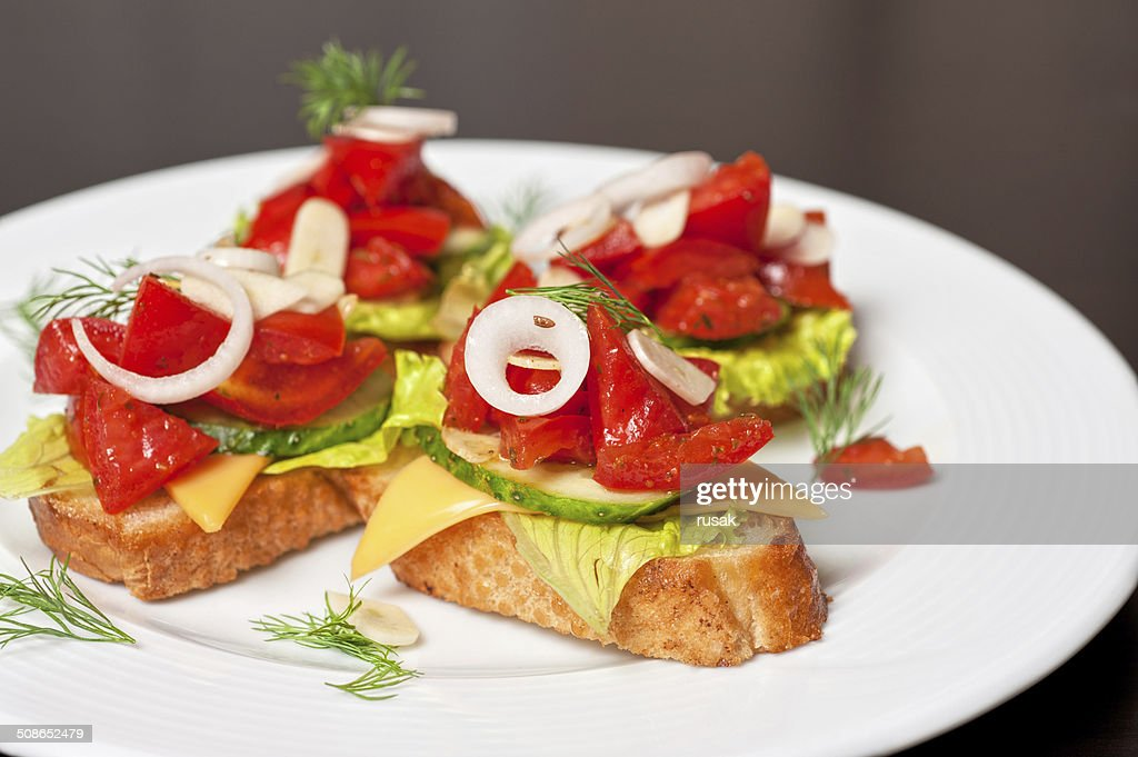 Toast with vegetables : Stock Photo