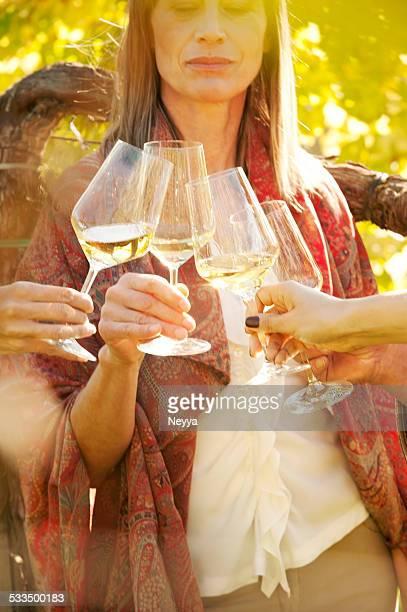 Brindisi con vino bianco in vigneto