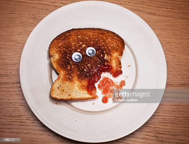 Toast with wound bleeding jam