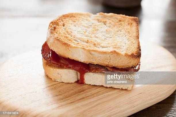 Toasted Bacon Sandwich with Tomato Ketchup