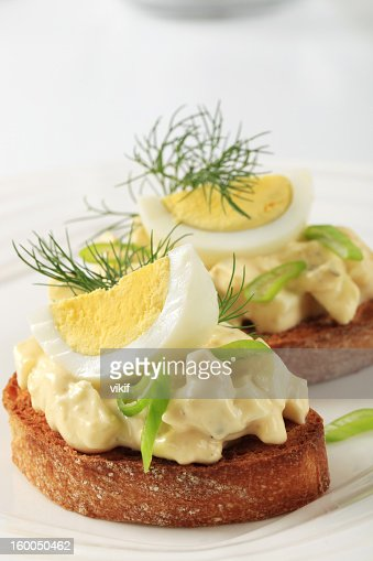 Toasted bread and egg spread : Stock Photo