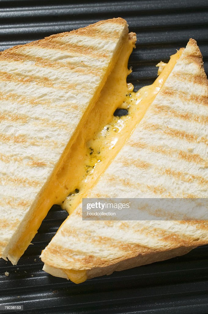 Toasted cheese sandwiches on grill plate : Stock Photo