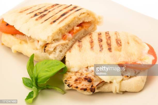 Toasted Chicken, tomato and mozzarella Panini sandwich