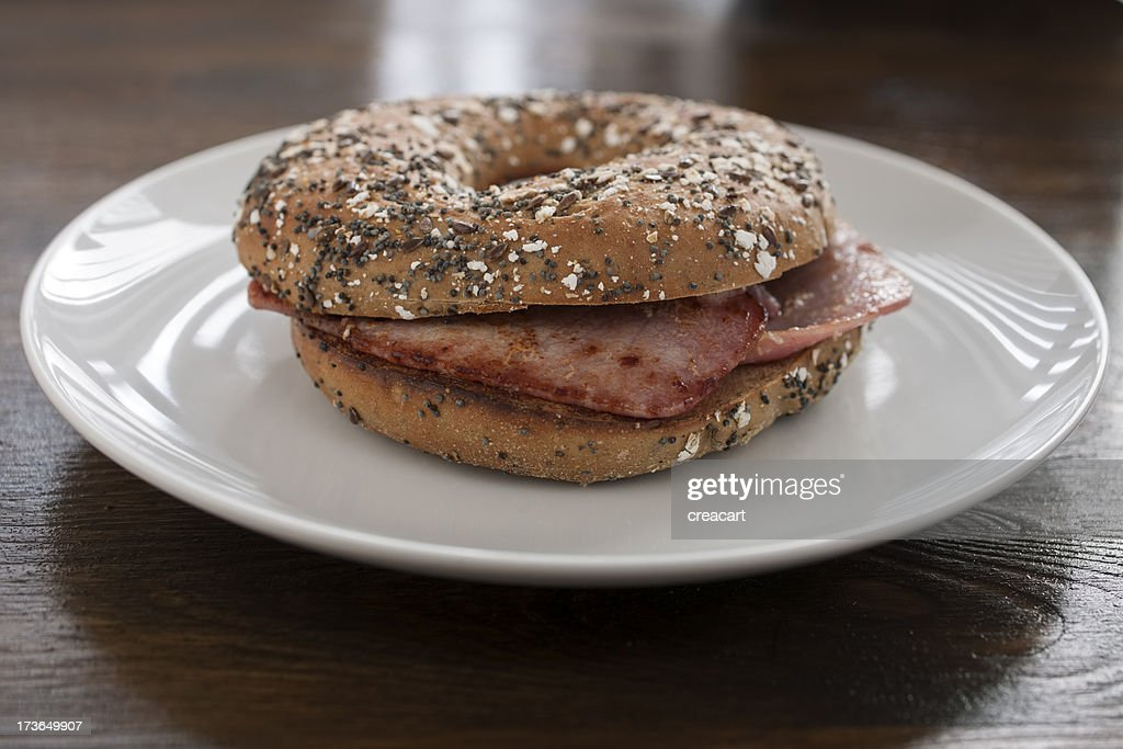 Toasted Seeded Bacon filled Bagel