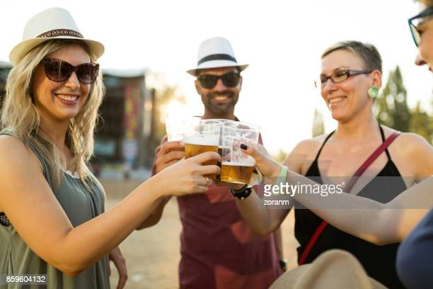 Toasting at music festival