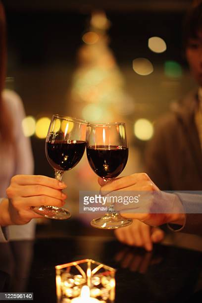Toasting with red wine