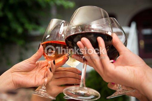 Toasting with wine. : Stock Photo