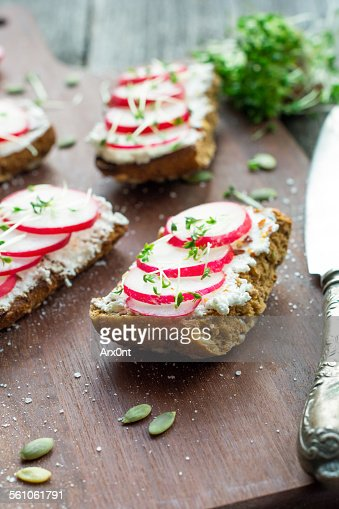 Toasts with cream cheese and radish