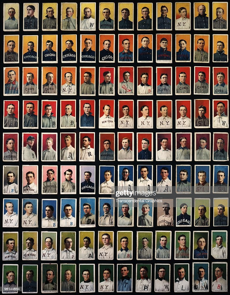 NEW YORK 19091911 Tobacco cards cataloged as T206 cards organized in a collage are from cigarette packs where they were used as stiffeners All the...