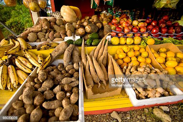 Caribbean fruits and vegetables for sale at a stand in Tobago.