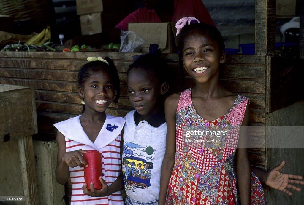 Tobago, Scarborough, Market Scene, Local Girls.