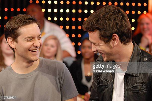 Tobey Maguire and James Franco during The Cast of 'SpiderMan 3' Visits MTV's 'TRL' May 1 2007 at MTV Studios in New York City New York United States