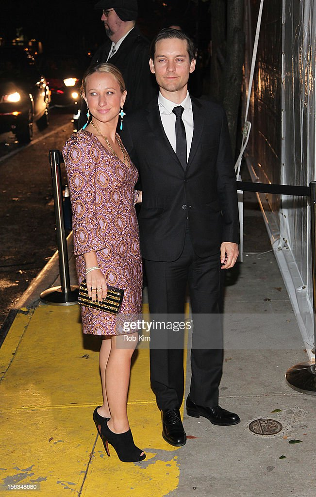 Tobey Maguire and Jennifer Meyer arrive at The Ninth Annual CFDA/Vogue Fashion Fund Awards at 548 West 22nd Street on November 13, 2012 in New York City.
