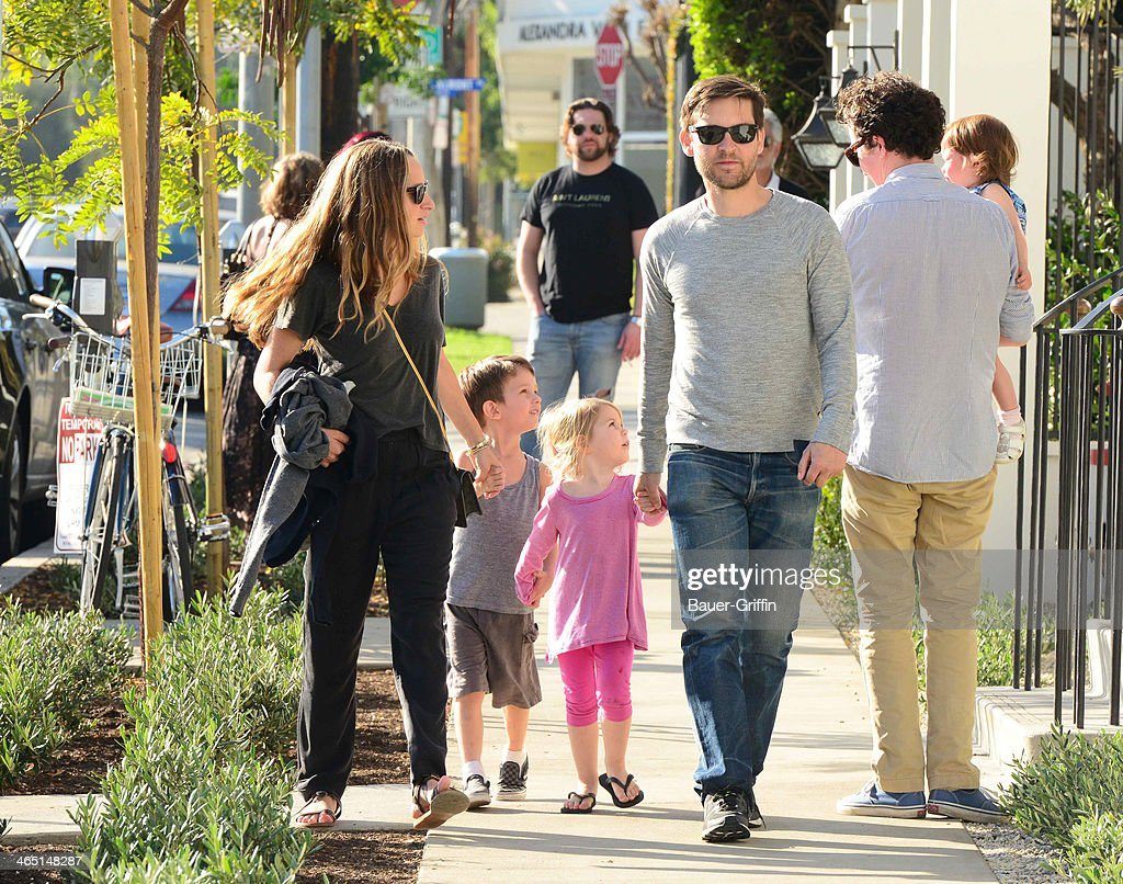Tobey Maguire and Jennifer Meyer with their children Ruby Maguire and Otis Maguire are seen on January 25, 2014 in Los Angeles, California.
