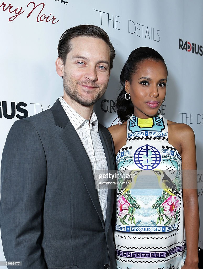<a gi-track='captionPersonalityLinkClicked' href=/galleries/search?phrase=Tobey+Maguire&family=editorial&specificpeople=203015 ng-click='$event.stopPropagation()'>Tobey Maguire</a> and <a gi-track='captionPersonalityLinkClicked' href=/galleries/search?phrase=Kerry+Washington&family=editorial&specificpeople=201534 ng-click='$event.stopPropagation()'>Kerry Washington</a> at RADiUS-TWC 'he Details' Premiere hosted by GREY GOOSE Vodka held at The ArcLight Cinemas on October 29, 2012 in Hollywood, California.
