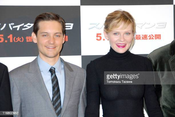 Tobey Maguire and Kirsten Dunst during 'SpiderMan 3' Tokyo Press Conference Photocall at Roppongi Academy Hills in Tokyo Japan