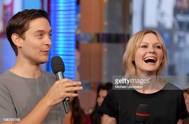 Tobey Maguire and Kirsten Dunst during The Cast of 'SpiderMan 3' Visits MTV's 'TRL' May 1 2007 at MTV Studios in New York City New York United States