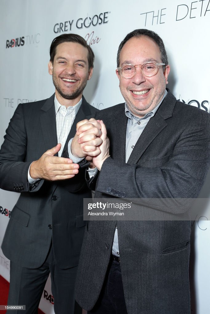 Tobey Maguire and Mark Goron at RADiUS-TWC 'he Details' Premiere hosted by GREY GOOSE Vodka held at The ArcLight Cinemas on October 29, 2012 in Hollywood, California.