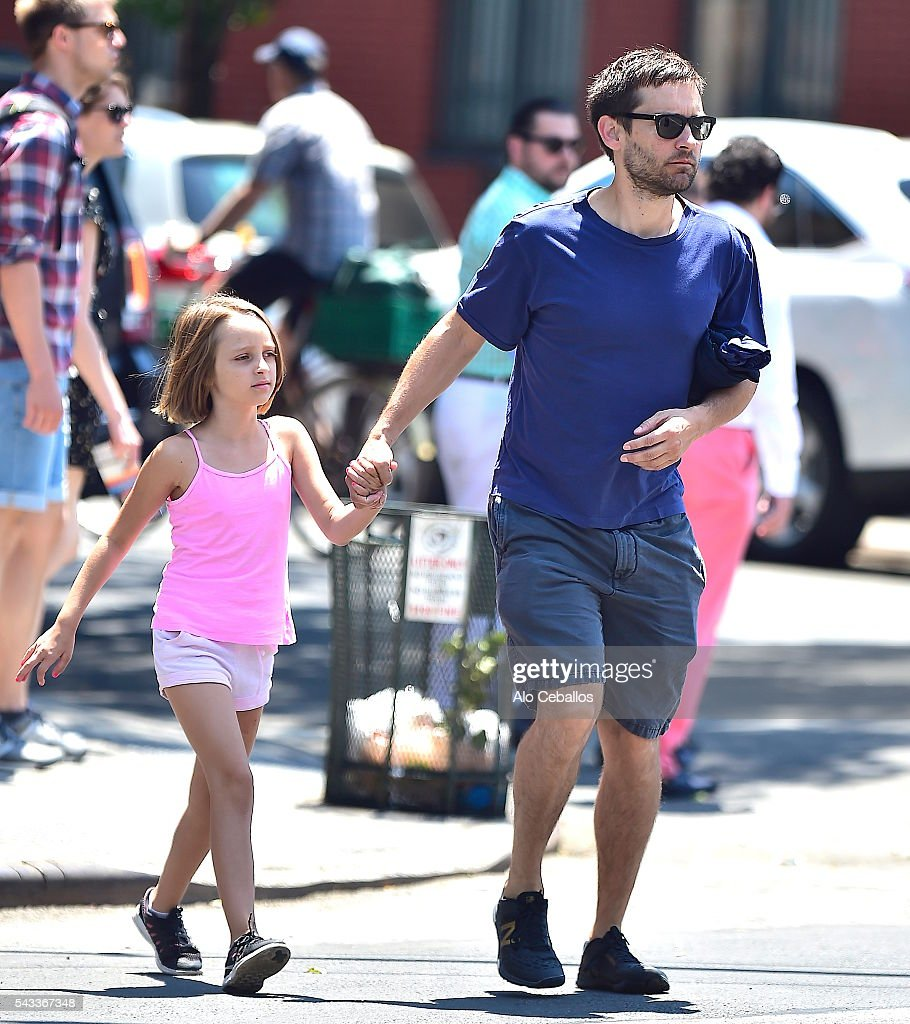 <a gi-track='captionPersonalityLinkClicked' href=/galleries/search?phrase=Tobey+Maguire&family=editorial&specificpeople=203015 ng-click='$event.stopPropagation()'>Tobey Maguire</a> and Ruby Sweetheart Maguire are seen in Soho on June 27, 2016 in New York City.