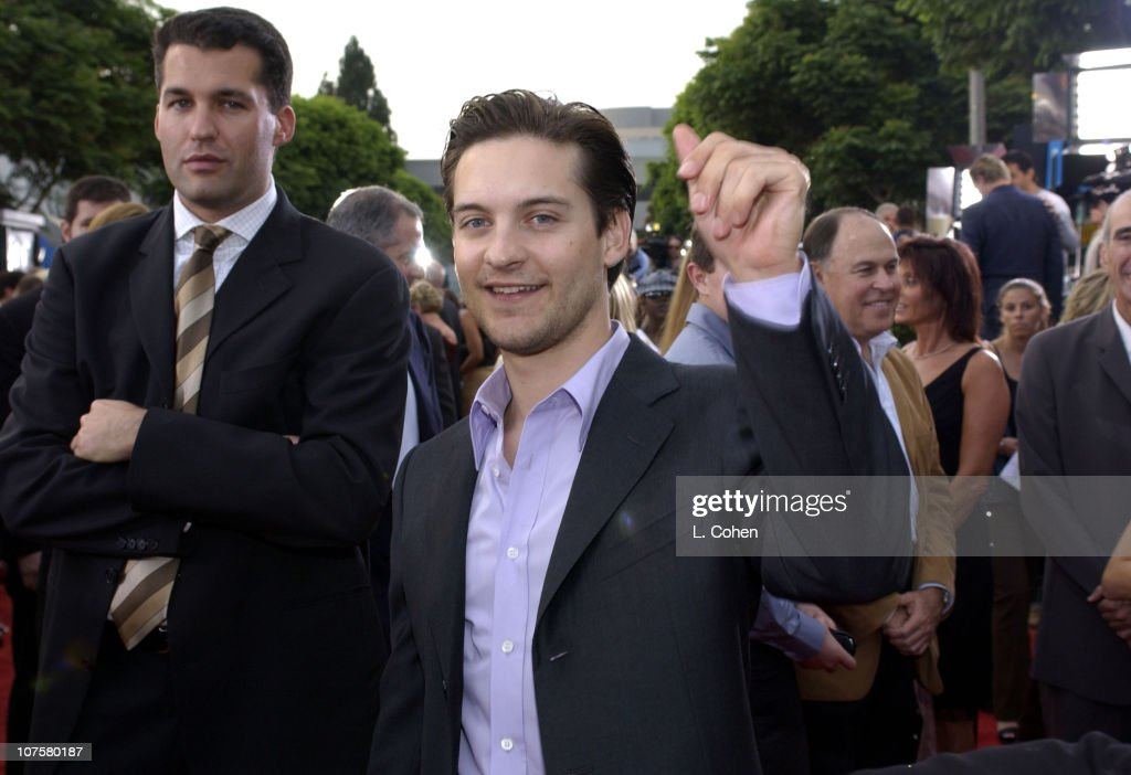 Tobey Maguire and Universal's Scott Stuber during 'Seabiscuit' Premiere Red Carpet at Mann Village Theatre in Westwood California United States
