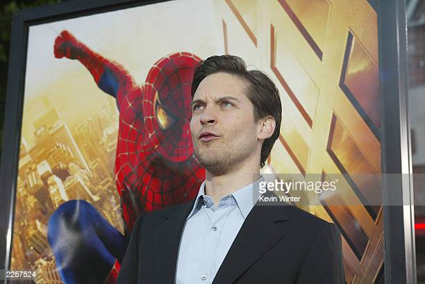 Tobey Maguire arrives for the premiere of 'Spider Man' at the Mann Village in Westwood Ca April 29 2002 photo by Kevin Winter/ImageDirect