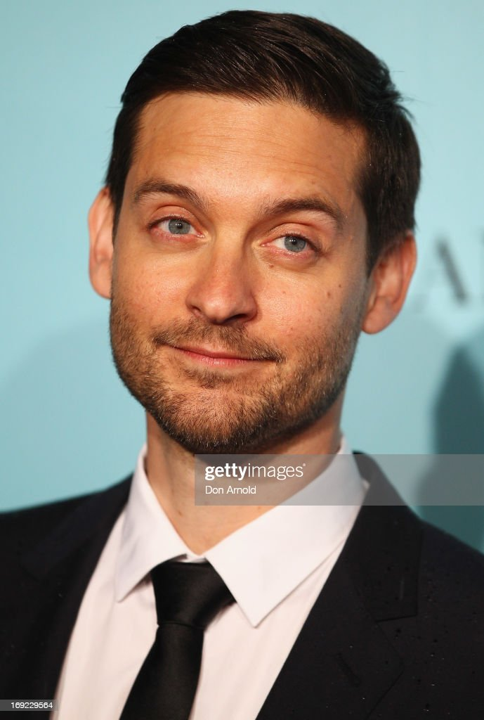 <a gi-track='captionPersonalityLinkClicked' href=/galleries/search?phrase=Tobey+Maguire&family=editorial&specificpeople=203015 ng-click='$event.stopPropagation()'>Tobey Maguire</a> arrives for the Sydney premiere of 'The Great Gatsby' at The Entertainment Quarter on May 22, 2013 in Sydney, Australia.