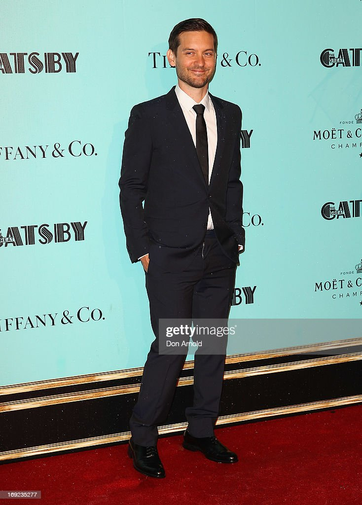 <a gi-track='captionPersonalityLinkClicked' href=/galleries/search?phrase=Tobey+Maguire&family=editorial&specificpeople=203015 ng-click='$event.stopPropagation()'>Tobey Maguire</a> arrives for the Sydney premiere of The Great Gatsby at Moore Park on May 22, 2013 in Sydney, Australia.