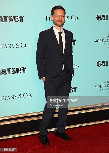 Tobey Maguire arrives for the Sydney premiere of The Great Gatsby at Moore Park on May 22 2013 in Sydney Australia