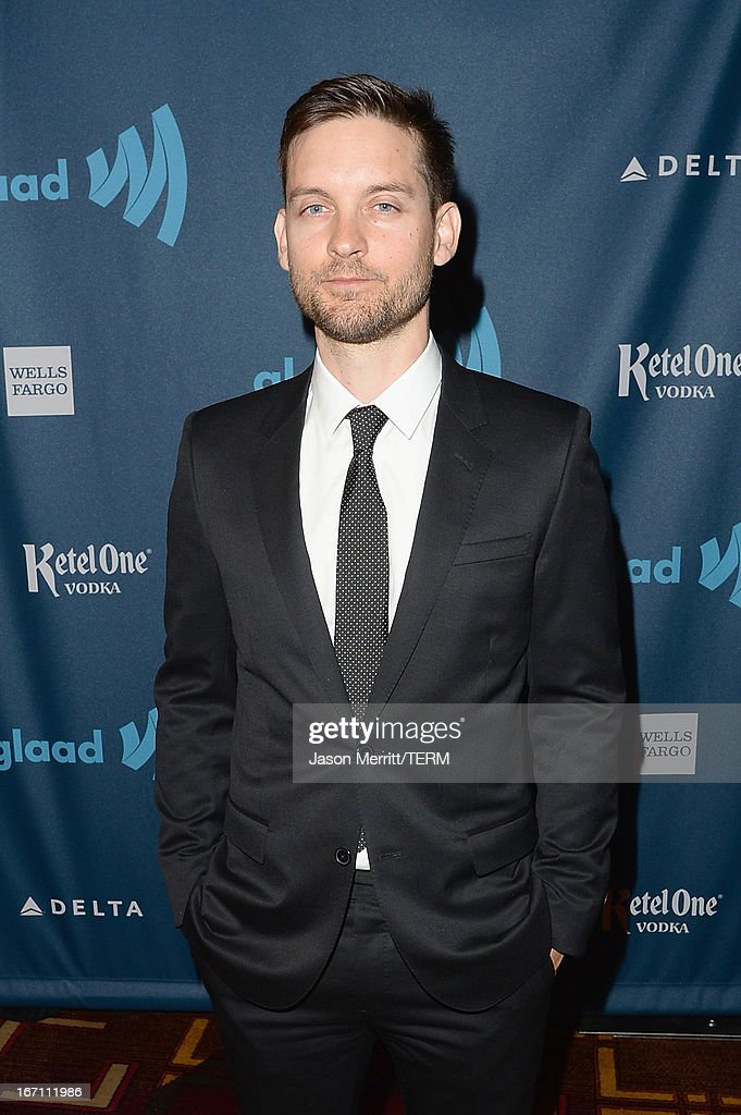 <a gi-track='captionPersonalityLinkClicked' href=/galleries/search?phrase=Tobey+Maguire&family=editorial&specificpeople=203015 ng-click='$event.stopPropagation()'>Tobey Maguire</a> attends the 24th Annual GLAAD Media Awards at JW Marriott Los Angeles at L.A. LIVE on April 20, 2013 in Los Angeles, California.