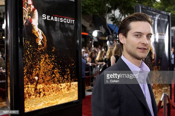 Tobey Maguire during 'Seabiscuit' Premiere Red Carpet at Mann Village Theatre in Westwood California United States