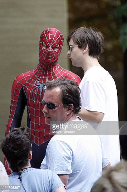 Tobey Maguire during Tobey Maguire Topher Grace James Cromwell and Bryce Dallas Howard on the Set of 'SpiderMan 3' May 28 2006 at 6th Avenue in New...