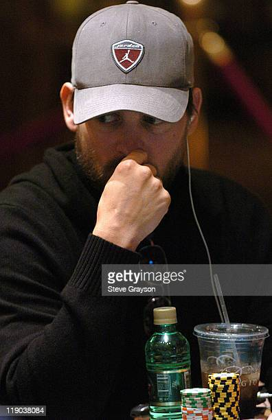 Tobey Maguire takes part in day one of the World Poker Tour's Doyle Brunson North American Poker Championship at the Bellagio Hotel in Las Vegas...