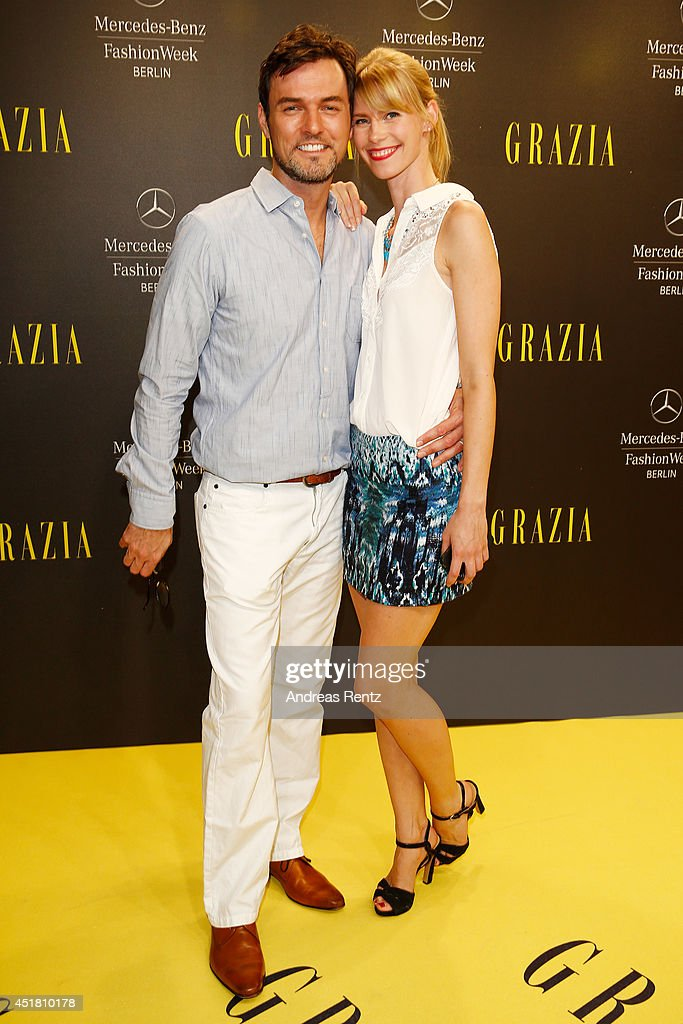 Tobey Wilson (L) and Sabrina Gehrmann arrives for the Opening Night by Grazia fashion show during the Mercedes-Benz Fashion Week Spring/Summer 2015 at Erika Hess Eisstadion on July 7, 2014 in Berlin, Germany.