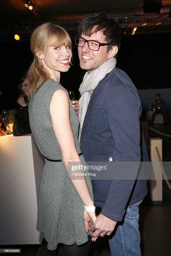 Tobey Wilson and Sabrina Gehrmann attend the Guido Maria Kretschmer For eBay Collection Launch at Label 2 on April 10, 2013 in Berlin, Germany.