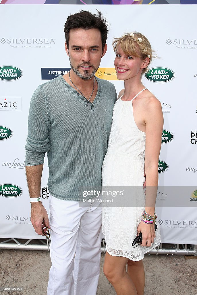 Tobey Wilson and Sabrina Gehrmann attend the Land Rover Public Chill 2014 at Beach Motel on August 3, 2014 in St Peter-Ording, Germany.