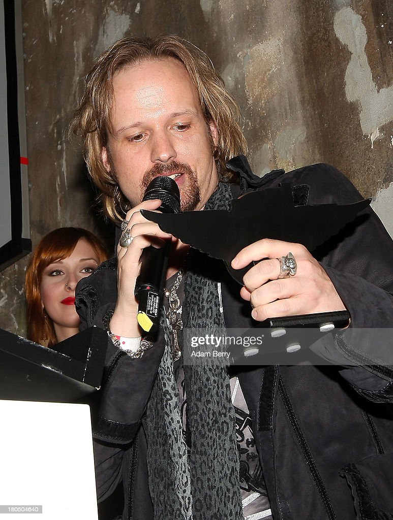 Tobi Sammet of the band Avantasia accepts the prize for 'Best German Band' during the fifth Metal Hammer Awards at Kesselhaus on September 13, 2013 in Berlin, Germany. The annual prizes are given by Metal Hammer, a German music magazine specialized in Heavy Metal and Hard Rock.
