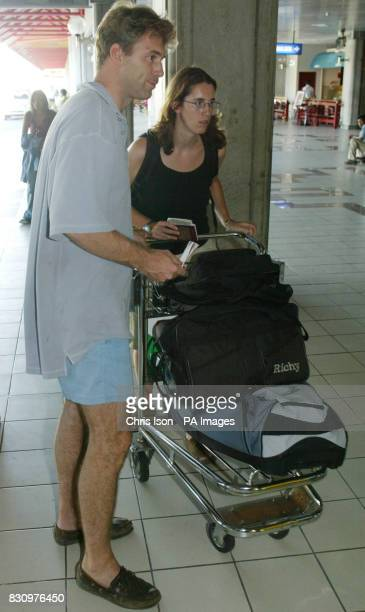 Tobias and Totty Elwood from Aldbury Hertfordshire prepare to leave Bali after securing the release of their brotherJonathan's body following the car...