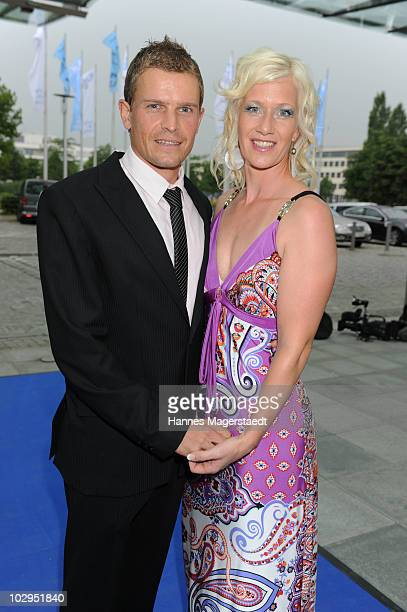 Tobias Angerer and his wife Romy attend the Bavarian Sport Award 2010 at the International Congress Center Munich on July 17 2010 in Munich Germany