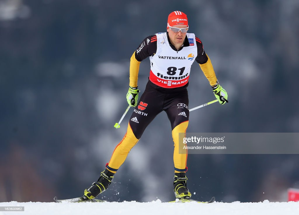 Tobias Angerer of Germany in action during the Men's Cross Country Individual 15km at the FIS Nordic World Ski Championships on February 27, 2013 in Val di Fiemme, Italy.